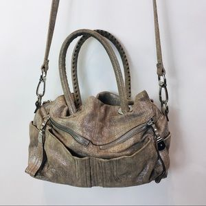 B. Makowsky Purse Suede Leather Shoulder Beige